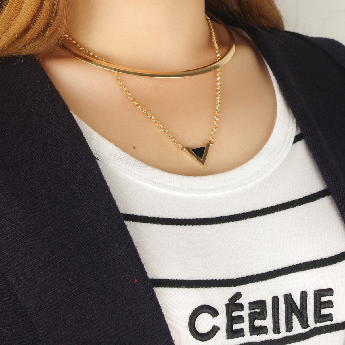 Fashion Triangle-Shaped Golden Metal Necklace