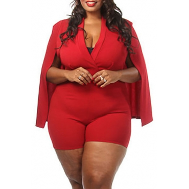 Healthy Fabric Stylish V Neck Half Sleeves Cloak Design Red Healthy Fabric One-piece Jumpsuits