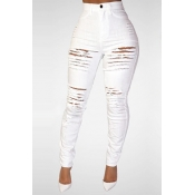 Trendy High Waist Broken Holes White Denim Skinny