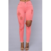 Trendy Mid Waist Broken Holes Red Blending Jeans