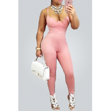 Alluring Spaghetti Strap Sleeveless Pink Polyester One-piece Skinny Jumpsuits