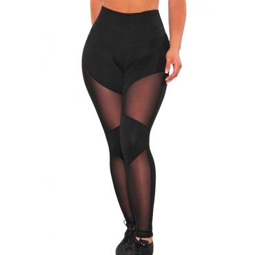 Charismatic Mid Waist Mesh Patchwork Black Polyester Leggings