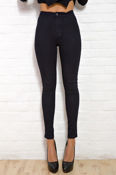 Stylish Mid Waist Button Fly Black Denim Skinny Pants
