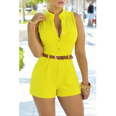 Trendy Round Neck Sleeveless Button Design Yellow Polyester One-piece Jumpsuits (With Belt)