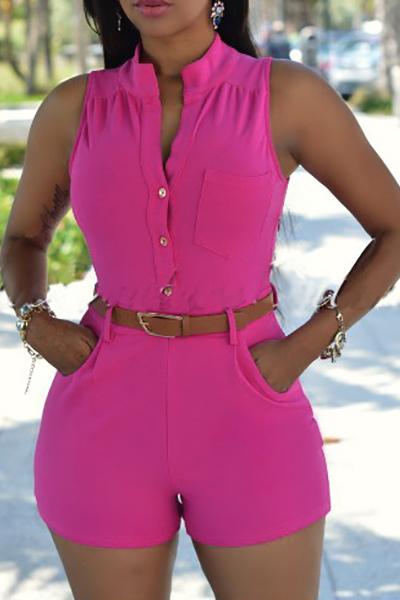 Trendy Round Neck Sleeveless Button Design Jumpsuits de uma peça de poliéster vermelho (com cinto)