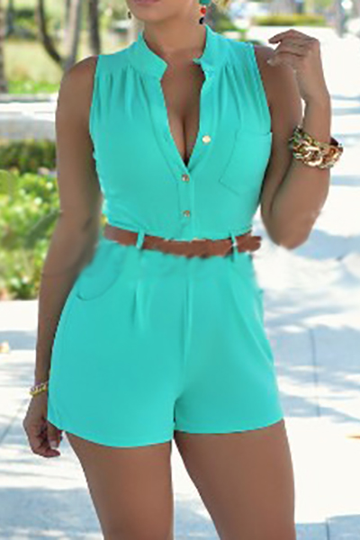 Trendy Round Neck Sleeveless Button Design Green Polyester One-piece Jumpsuits (With Belt)