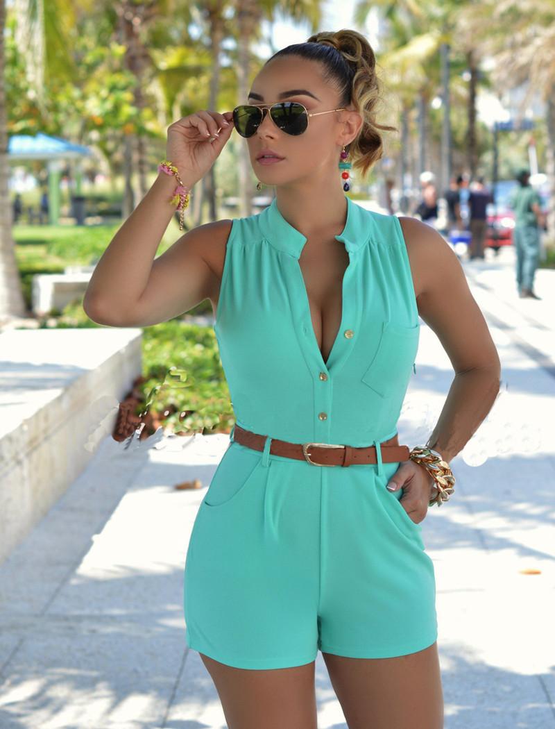 Trendy Round Neck Sleeveless Button Design Green Polyester Jumpsuits de uma peça (com cinto)