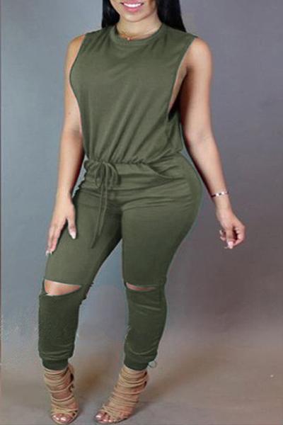 Стильный шею рукавов разорванные Holes Zipper Дизайн Army Green полиэфирные Цельные Комбинезоны