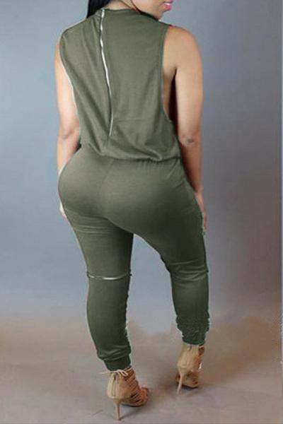Elegante em torno do pescoço sem mangas Buracos quebrados Zipper Design Exército Verde Polyester uma peça Macacões