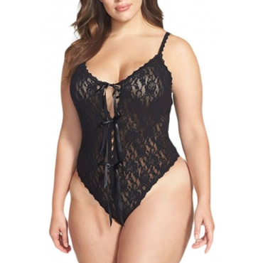 Sexy V Neck Spaghetti Strap Lace Patchwork Hollow-out Black Spandex One-piece Jumpsuits