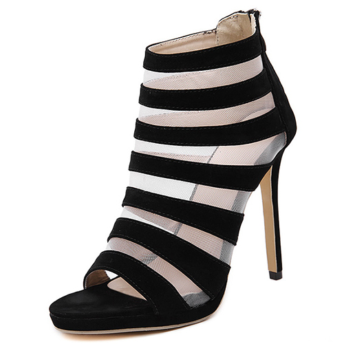 Stylish Open toe Hollow-out Stiletto Super High Heel Black ...