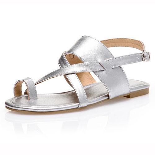 Leisure Open Toe Hollow-out Flat Low Heel Silver PU