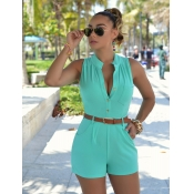 Trendy Round Neck Sleeveless Button Design Green Polyester Jumpsuits de uma peça (com cinto)
