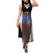 Sexy Round Neck Tank Sleeveless Mesh Patchwork Black Polyester Ankle Length Dress