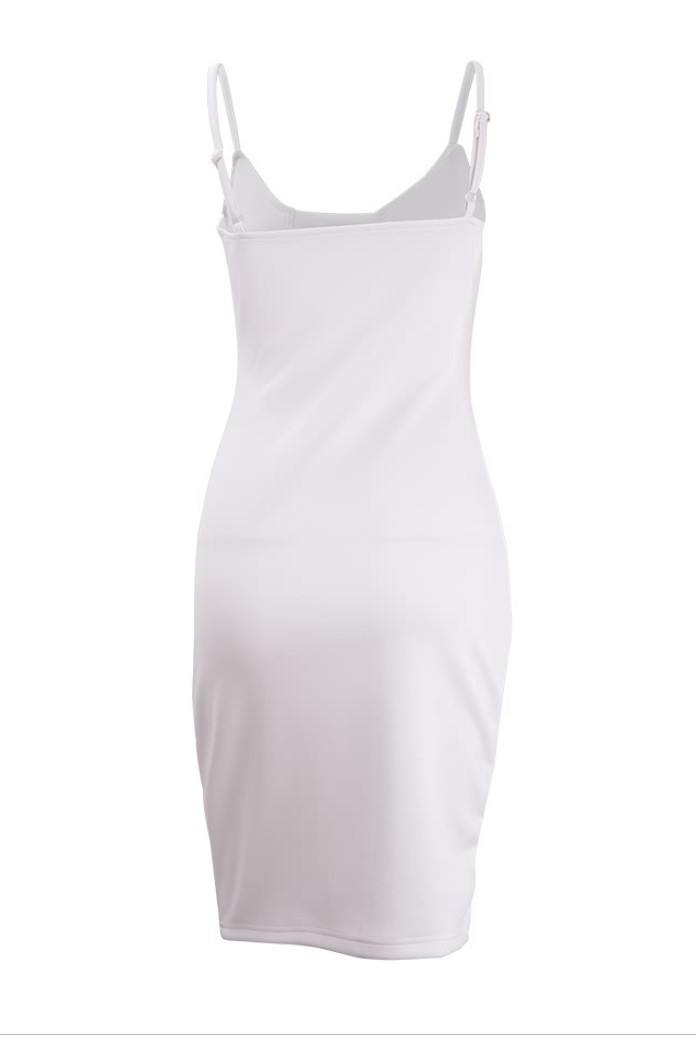 Sexy V Neck Spaghetti Strap Sleeveless White Cotton Sheath Knee Length Women Dress