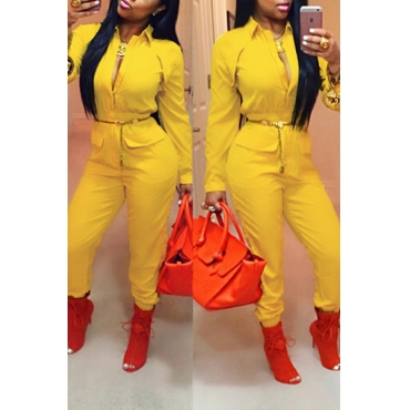 Stylish Turndown Collar Long Sleeves Yellow Polyester One-piece Jumpsuit