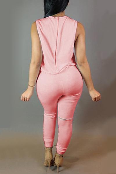 Sin mangas del tanque de moda cuello redondo diseño de la cremallera del lazo rosado del mono de poliéster de una sola pieza