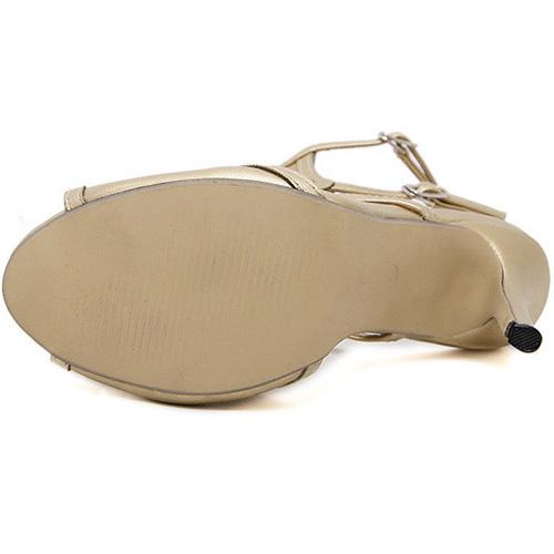 De moda punta abierta Hueco-hacia fuera del estilete del alto talón sandalias de oro PU