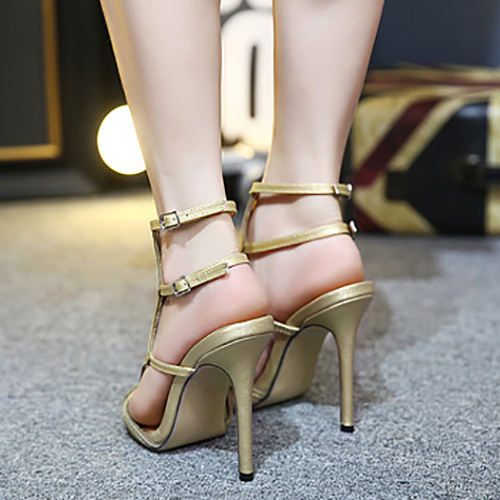 Trendy Aberto à frente oca-out Stiletto Super High Heel Sandals ouro PU