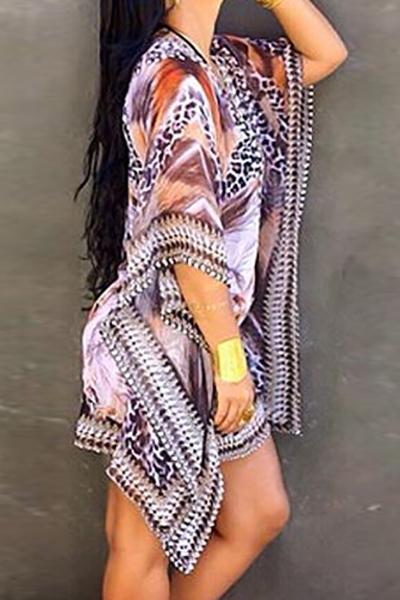 Trendy V Neck mezze maniche stampato asimmetrico viola abito in chiffon mini