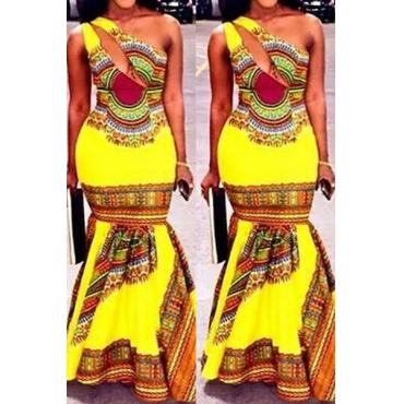 Bohemian Style One Shoulder Sleeveless Printed Hollow-out Yellow Qmilch Mermaid Floor length Dress