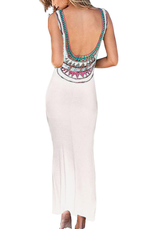 trendy neck sleeveless backless white polyester