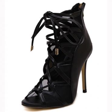 Модные Открытый Toe Крест Шнуровка полым из стилет Супер Высокий каблук черный PU Насосы