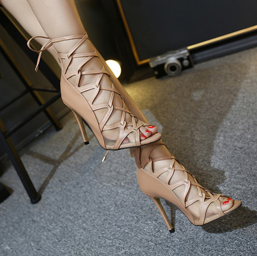Trendy Open Toe Cross Lace-up Hollow-out Stiletto Super High Heel Apricot PU Pumps