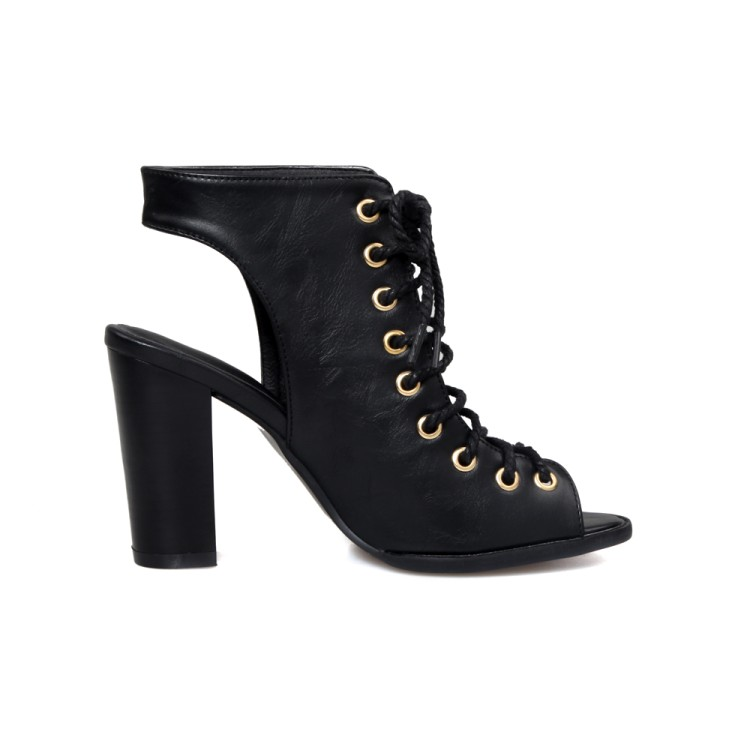 Elegante Abrir Toe Cruz Lace-up oca-out Chunky Super salto alto preto PU Bombas
