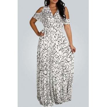 Мода V шеи короткими рукавами блоки печатных нейлон Пляж голеностопного Длина платья