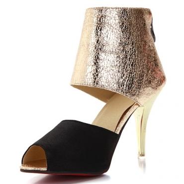 Модный круглый Peep Toe Цвет-блок Лоскутная стилет Супер Высокий каблук черный PU Насосы