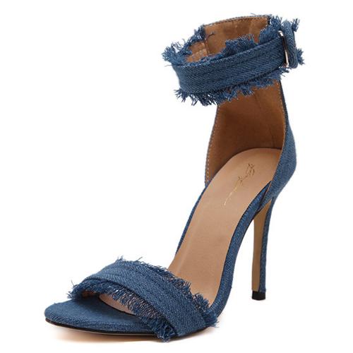 De moda punta abierta Hueco-hacia fuera del estilete del alto talón sandalias PU Luz