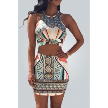 Bohemian Style Round Neck Sleeveless Printed Hollow-out Cotton Blend Two-piece Skirt Set
