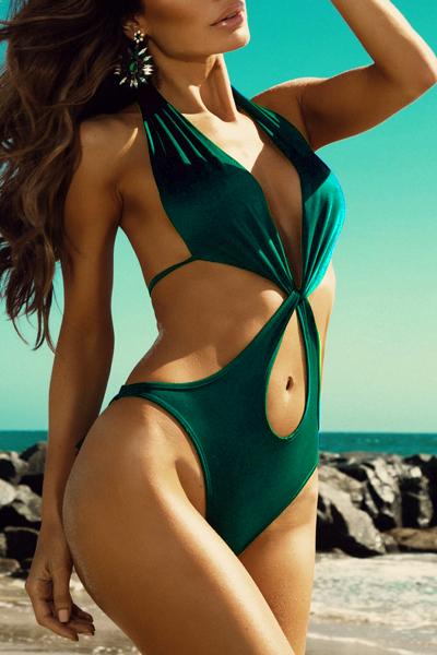 Sexy Vestido con cuello en V con cordones Hueco-hacia fuera de nylon verde de una sola pieza de baño