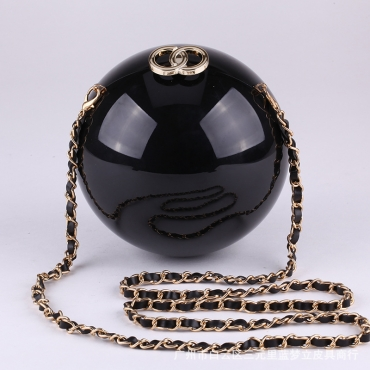 Fashion Earth Shaped Buckle Design Black Acrylic Clutches Bags