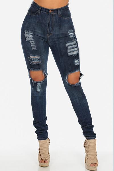trendy high waist knee broken holes blue denim skinny. Black Bedroom Furniture Sets. Home Design Ideas