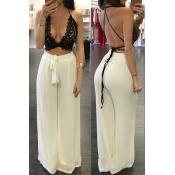 Trendy High Waist Lace-up Beige Chiffon Loose Pants