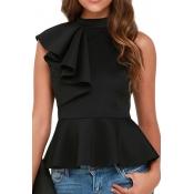 Trendy Round Collar Sleeveless Falbala Design Black Polyester Tops