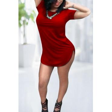 O la moda manga corta cuello de la envoltura del mini vestido rojo