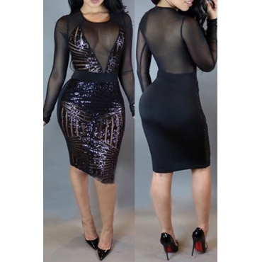 Sexy Round Neck Long Sleeves Mesh Patchwork Black Sequined Sheath Knee Length Dress