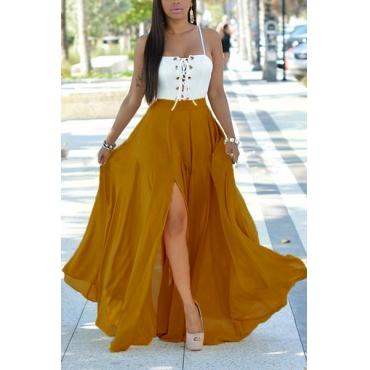 Euramerican Spaghetti Strap Sleeveless Patchwork Backless Chiffon Beach Ankle Length Dress