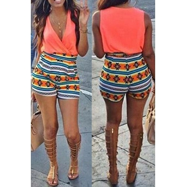 Fashion V Neck Sleeveless Printed Patchwork Cotton Blends One-piece Jumpsuits