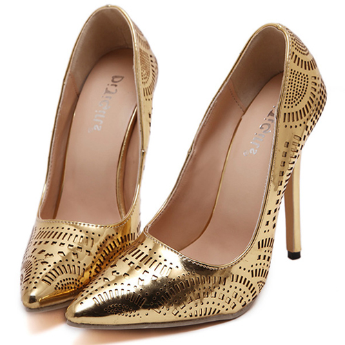 Euramerican Pointed Toe Super High Heel Gold PU Pumps