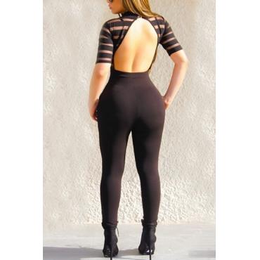 Sexy Rundhalsausschnitt mit kurzen Ärmeln Backless Schwarz Qmilch einteilige dünne Jumpsuits