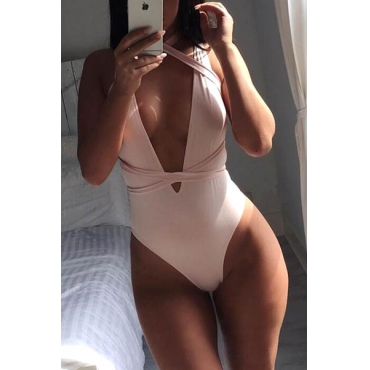 Sexy Euramerican Deep V Neck Bandage Pink Qmilch One-Piece Swimwear