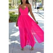 Sexy V Neck Sleeveless Drape Design Backless Rose Red Chiffon Ankle Length Dress
