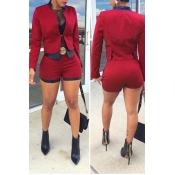 Stylish Mandarin Collar Long Sleeves Patchwork Red Cotton Two-piece Shorts Set