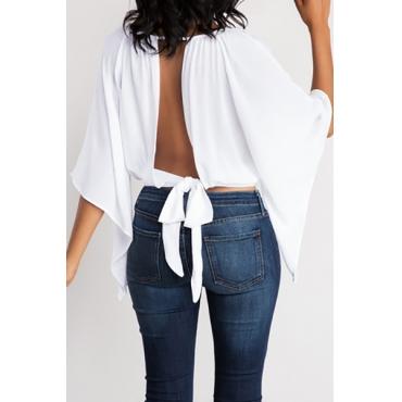 Отдых вокруг шеи три четверти рукава Backless белый полиэстер футболка