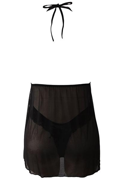 Sexy cuello en V Backless See-Through camisón negro de poliéster (Incluye escritos)