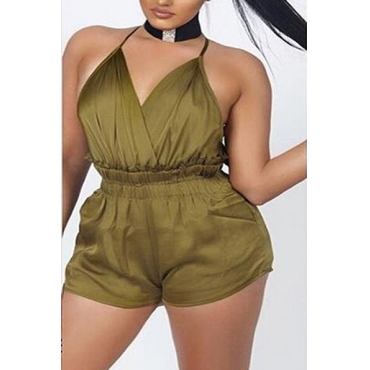 Sexy Spaghetti Strap Sleeveless Drape Design Green Polyester One-piece Jumpsuits